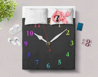 Black Duvet Cover, Modern clock home decor, Dorm room bedding, Twin, Full size, Queen, King, Holiday Housewarming Birthday gift, DCclock