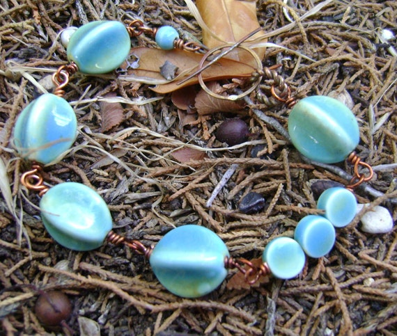 Asia - blue and green glazed ceramic and torched copper bracelet - ready to ship