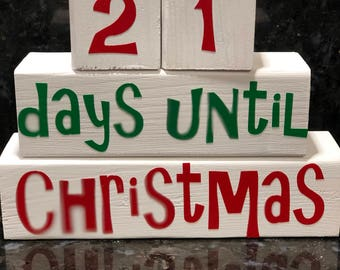 Christmas Countdown blocks, Christmas decor, holiday decorations , 25 days until Christmas, red and green, countdown blocks, Christmas block