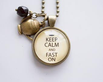 Keep Calm And Fast On Necklace - Jewelry For Faster - Health Pendant - Nutrition Necklace - Text Jewelry Intermittent Fasting Diet Lifestyle