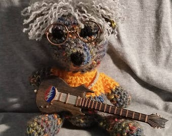 Jerry Garcia, Grateful Dead, Beary Garcia, mini guitars, crochet bears