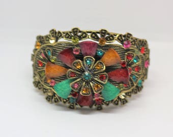 Large Bangle  Bracelet With Vibrant Red And Green Rhinestones