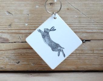 Wooden 'Hare' keyring