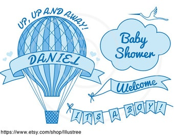 Baby clip art, hot air balloon baby shower, it's a boy, girl, digital clipart, blue, pink, card,commercial use, EPS, SVG, instant download