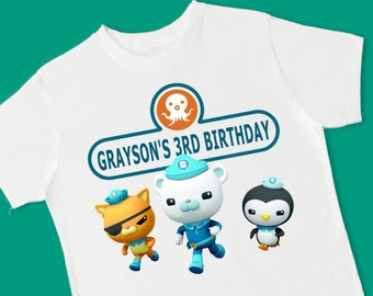 Octonauts Birthday Tee. Personalized Birthday T-Shirt. Personalized with Name and Age. 1st 2nd 3rd 4th 5th 6th Birthday (15017)