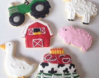 Farm Sugar Cookies, farm cookies, farm birthday, barnyard birthday, farm baby shower, decorated cookies, first birthday