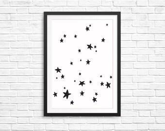 Unisex Kids Bedroom Decor Fun Children Print- Stars