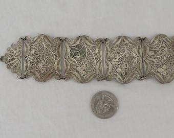Antique Victorian Silver Filagree Wide Hand Made Bracelet