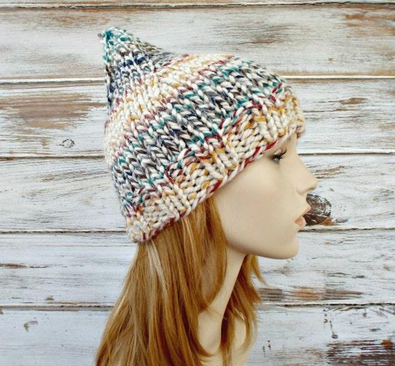 Knit Hat Womens Hat - Gnome Hat in Hudson Bay Multicolor Cream - Cream Gnome Hat Cream Beanie Cream Hat Womens Accessories