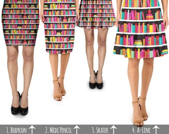 Library Book Case - Skirt in Skater Flare, Bodycon Fitted, Flared A-Line, or Midi Pencil style XS-3XL 000738