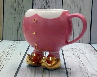 Christmas mug, Pink Elf mug, hot chocolate coffee cup, tea cup, Xmas Tea Cup, novelty mug, Christmas gift, ready to ship - Unique Gift