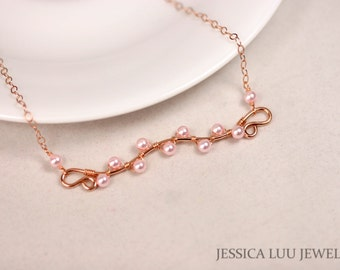 Rose Gold Pink Pearl Necklace Wire Wrapped Jewelry Handmade Rose Gold Necklace Pink Pearl Jewelry Bridal Necklace Swarovski Pearl Rosaline