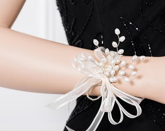 Limited Edition Genuine Freshwater Pearl  Corsage  - White Corsage -  Wrist Corsage
