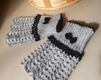 Fingerless gloves, Hand warmers, Handwarmers, Knitted Arm warmers, pure wool white, Crochet wrist warmers