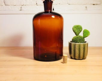 Old Pharmacy Bottle - Old Amber Bottle - Large Pharmacy Bottle - Apothecary Bottle - 5 Liters - Circa 1950's Cabinet of curiosities