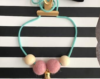 Tassle/ bead/ felt necklace