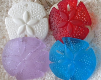 Beach Glass Sand Dollar Pendant - Cultured/Carved - 40mm x 36mm - 1 pc -CHOICE OF COLOR