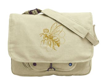 Queen Bee Embroidered Canvas Messenger Bag