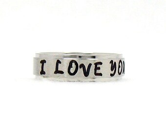 I Love You Ring, Love Ring, Stainless Ring, Stainless Steel Ring, Personalized Ring, Custom Name Ring, Hand Stamped Ring, Hand Stamped