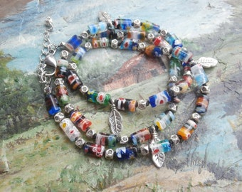 Multicolor Millefiori Bead Bracelet, Triple Wrap Bracelet, Knotted Bracelet, Boho Jewelry
