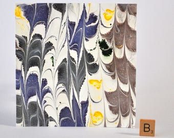 Hand Made Marbled Paper for scrapbooking, embellishments, card making with Blue, Grey, Yellow ColorsMM-B3