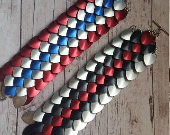 Captain America and Winter Soldier inspired scale maille bracelet