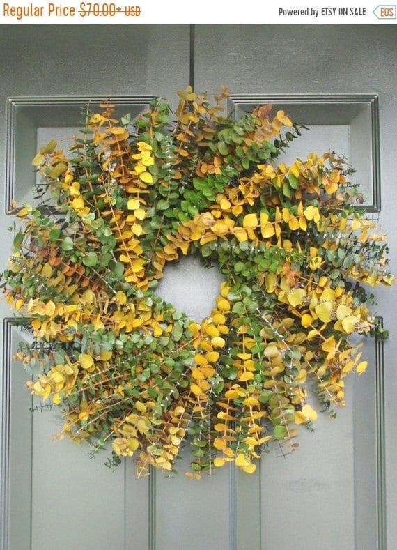 SUMMER WREATH SALE Sage and Amber Eucalyptus Wreath- Dried Floral Wreath- Eucalyptus Leaves- Eucalyptus Plant Oil-Natural Frangrance- Preser