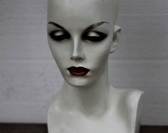 Vintage Female Mannequin Head Bust 1990's Hats Jewelry Display