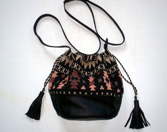 leather and canvas ethnic bag