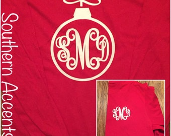 Christmas monogrammed Ornament shirt personalized!