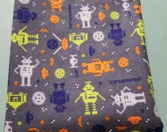 Outer Space Invaders Flannel Swaddle Receiving Blanket / 8 Bit Alien Robot Planet Solar System Nursery / Baby Boy Shower Gift