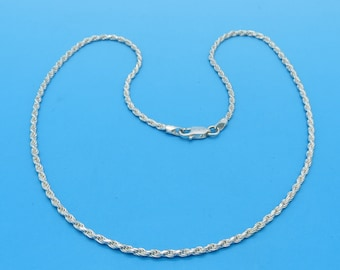 """Bright Sterling 2mm Rope Chain Necklace - 16"""""""