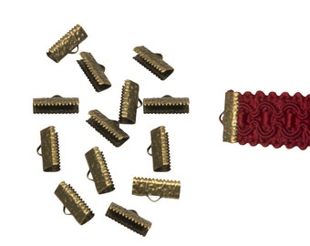 150 pieces  16mm  (5/8 inch)  Antique Bronze Ribbon Clamp End Crimps - Artisan Series