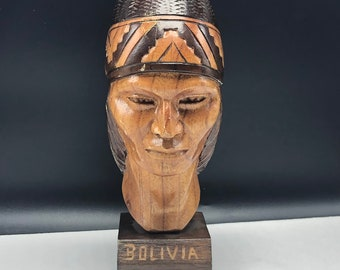BOLIVIA WOOD BUST hand carved vintage statue sculpture head figurine tribal handmade art South American collectible warrior native