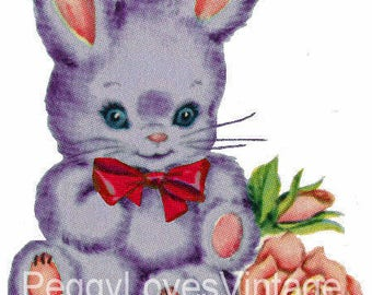 Puple Bunny with Red Bow Digital Image from Vintage Greeting Cards - Instant Download