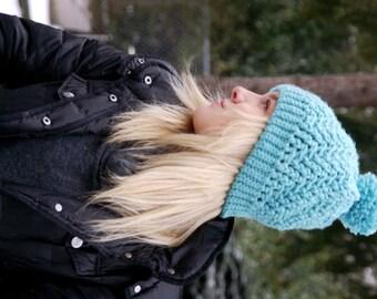 Pom Pom Beanie-  handmade/women's/cream/oatmeal/knit/winter hat/stretchy/chunky/stylish/cozy/warm/winter/beanie