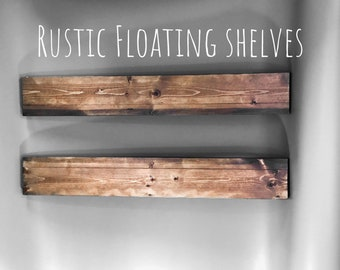 36 inch Floating wood shelf// rustic wall decor// reclaimed wood shelf// brackets // bookshelf//