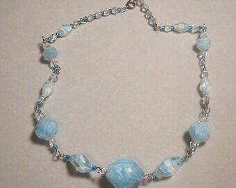 Artisan Necklace Cerulean Blue Glass Beads