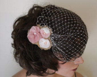 Ivory Bandeau Birdcage Veil with Handmade Pink, Ivory, and Burlap Fabric Flowers