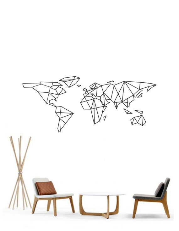 Science art geometric world map vinyl wall decal sticker like this item gumiabroncs Image collections
