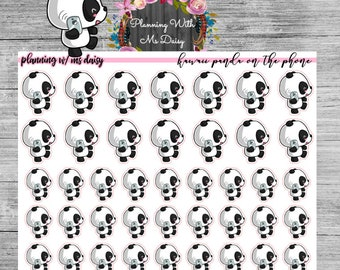 Kawaii Panda on the Phone Stickers // Planner Stickers
