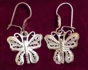 Silver Filigree earrings. 925. Sterling Silver Earrings: Butterfly