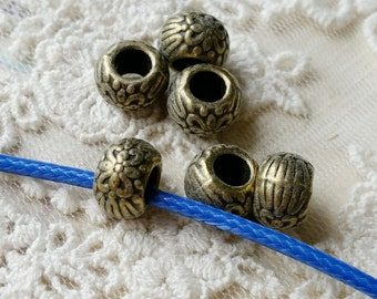 6 x 8 mm Antiqued Bronze Metal Beads/ Spacer Beads / Round Shape (.ss)