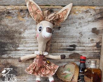 Rachel, whimsical donkey, collectible cloth doll, primitive, folk art doll