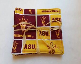 ASU Fabric Coasters, Arizona State, Sun Devils, Set of 4, Maroon and Gold