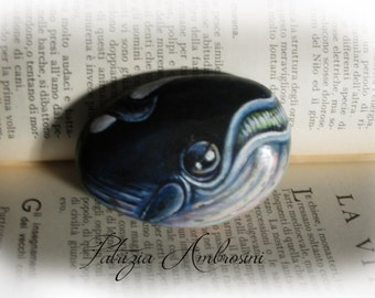 Whale No.2  Handpainted rock painting, painted stone. miniature, ocean, sea             rock pebble fine art