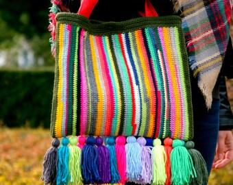 Handknitted Boho Bag, Rainbow Bag, Tassel Bag, Hippie Bag, Womens Gift, Festival Bag, Womens Accessories, Colorful Bag, Gypsy Bag, Handbag