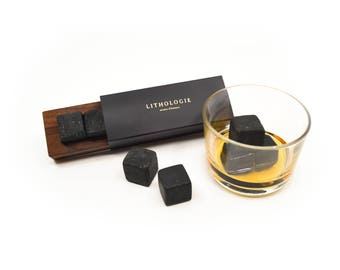 Sets of luxury whisky - dark Granulite (4) stones with box in Walnut