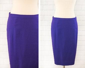 1980s Purple Wool Pencil Plus Skirt Large