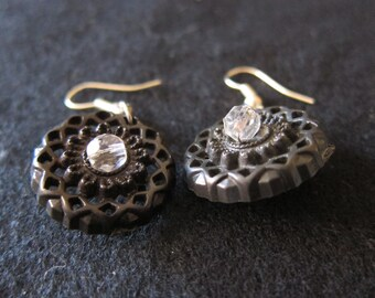 Vintage Black Plastic Button Earrings